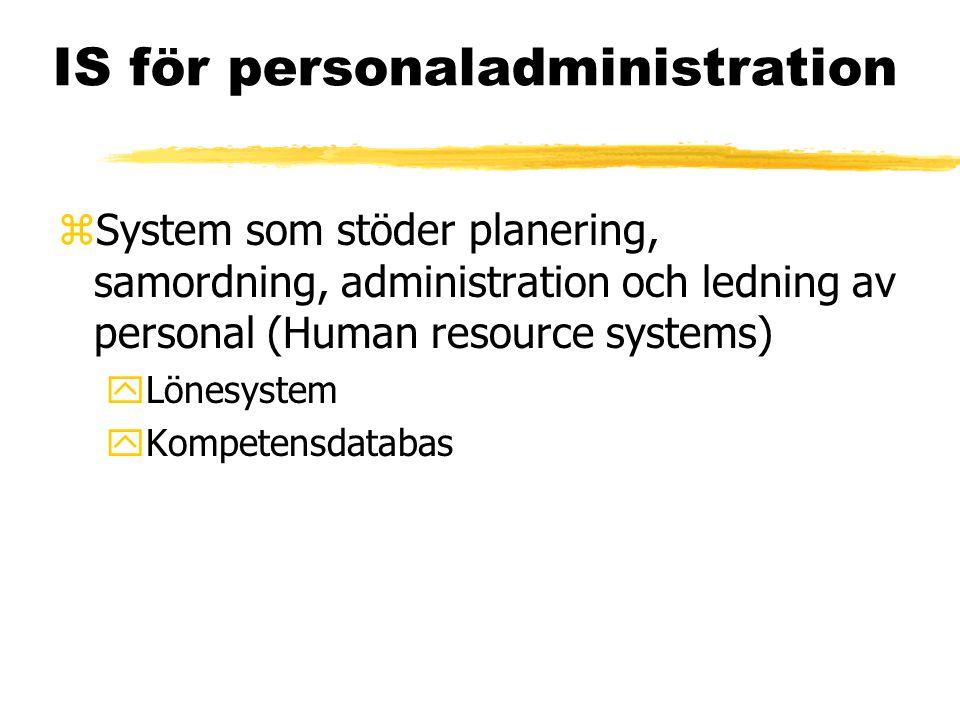 IS för personaladministration zSystem som stöder planering, samordning, administration och ledning av personal (Human resource systems) yLönesystem yKompetensdatabas