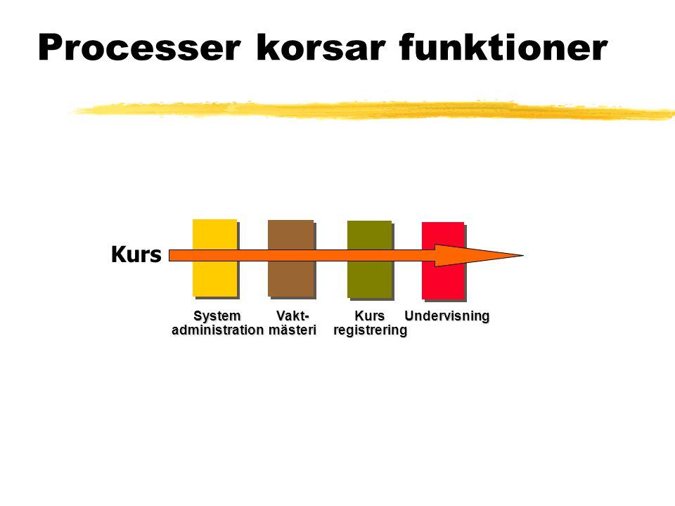 Vakt-mästeriKursregistreringUndervisningSystemadministration Processer korsar funktioner Kurs