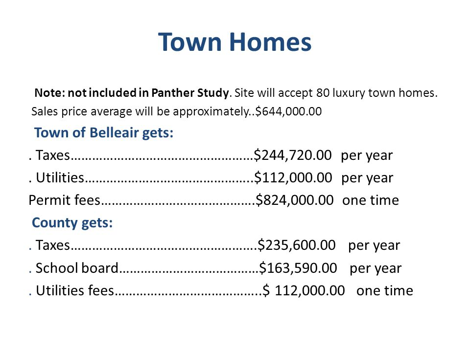 Town Homes Note: not included in Panther Study. Site will accept 80 luxury town homes.