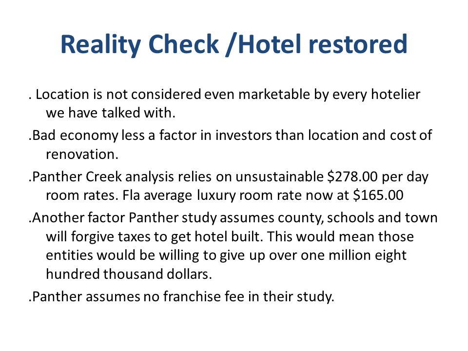 Reality Check /Hotel restored.