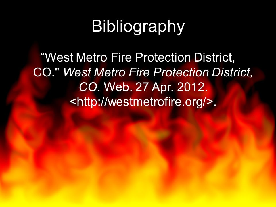 """Bibliography """"West Metro Fire Protection District, CO."""