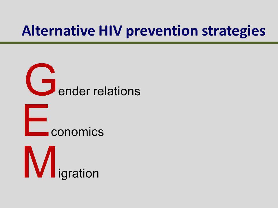 Alternative HIV prevention strategies G ender relations E conomics M igration
