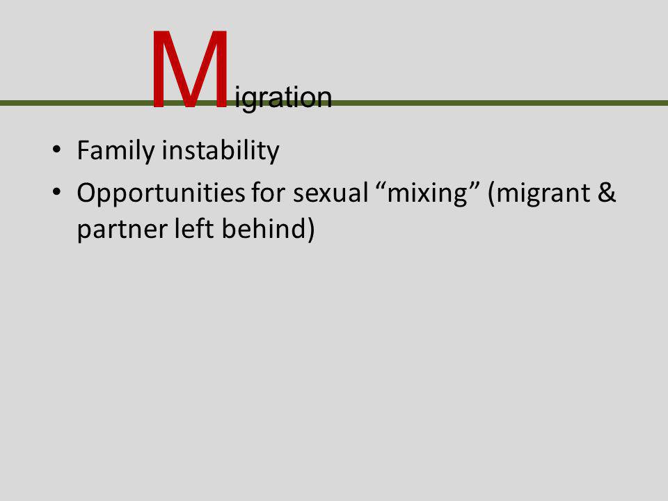 Family instability Opportunities for sexual mixing (migrant & partner left behind) M igration