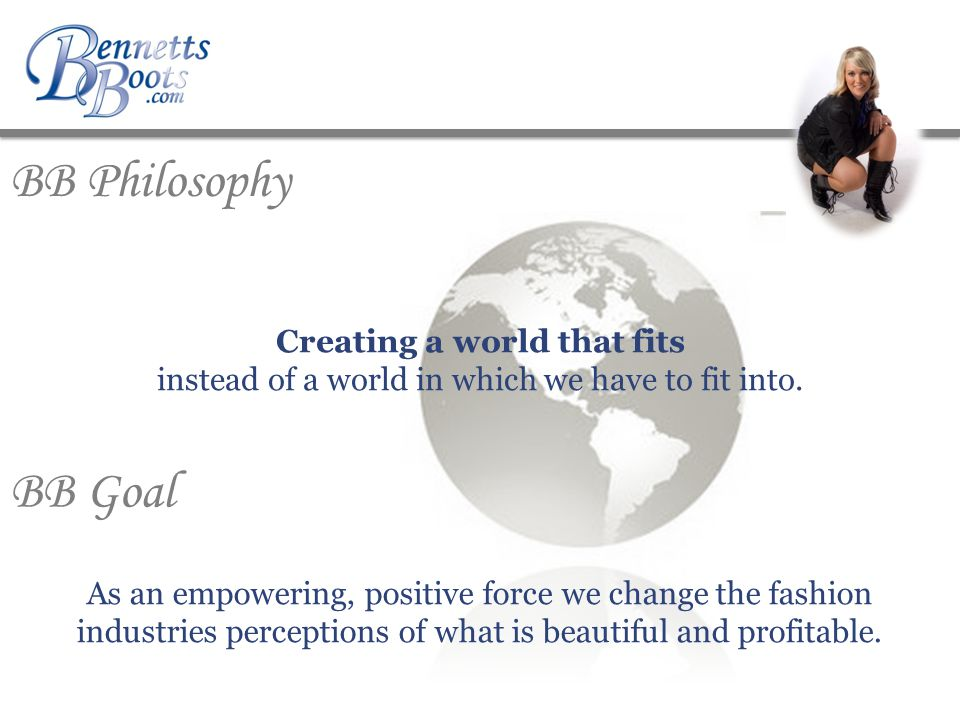 BB Philosophy Creating a world that fits instead of a world in which we have to fit into.