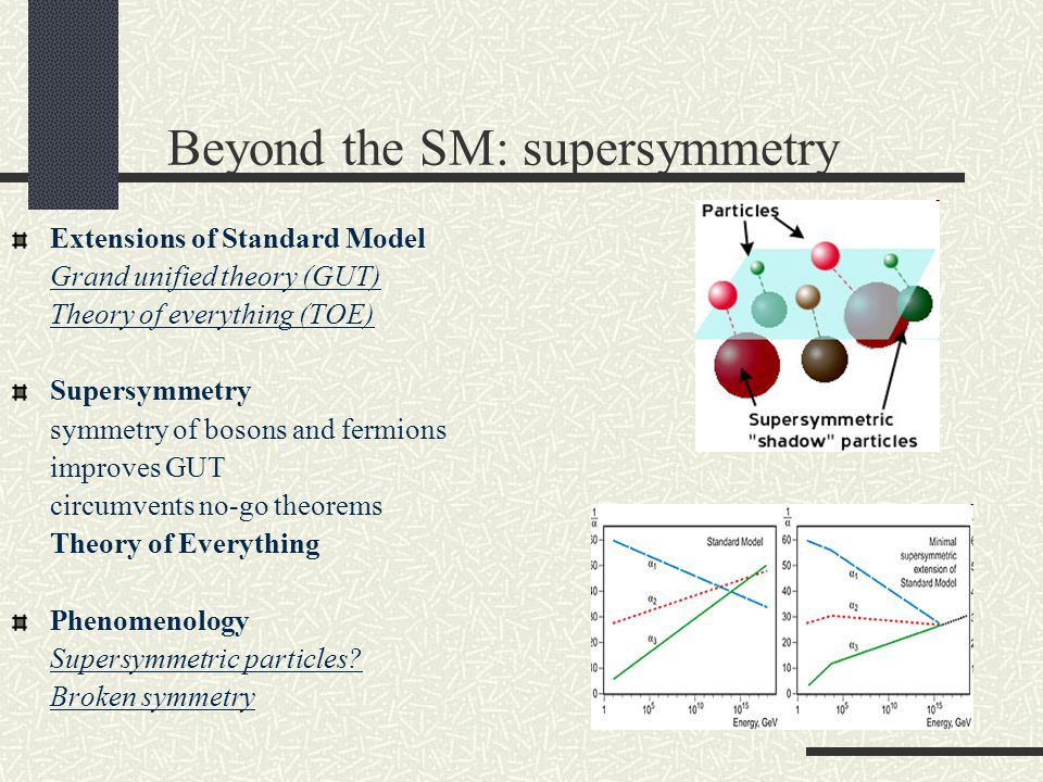 Beyond the SM: supersymmetry Extensions of Standard Model Grand unified theory (GUT) Theory of everything (TOE) Supersymmetry symmetry of bosons and fermions improves GUT circumvents no-go theorems Theory of Everything Phenomenology Supersymmetric particles.
