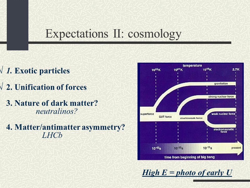 Expectations II: cosmology √ 1. Exotic particles √ 2.