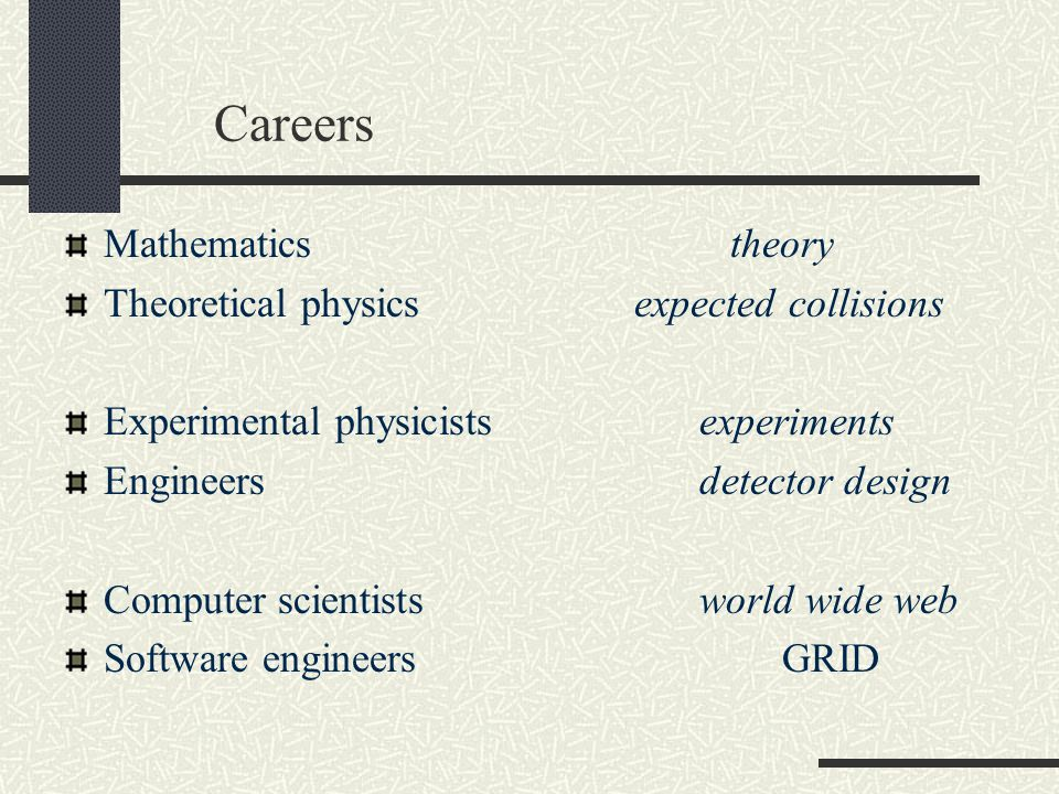 Careers Mathematics theory Theoretical physics expected collisions Experimental physicistsexperiments Engineersdetector design Computer scientistsworld wide web Software engineers GRID