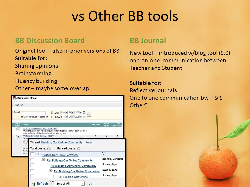 vs Other BB tools BB Discussion BoardBB Journal New tool – introduced w/blog tool (9.0) one-on-one communication between Teacher and Student Suitable for: Reflective journals One to one communication bw T & S Other.