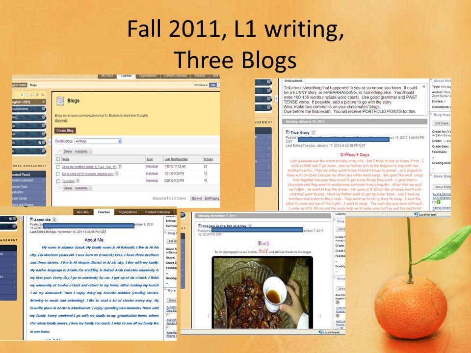 Fall 2011, L1 writing, Three Blogs Blackboard