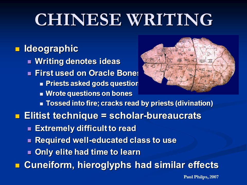 CHINESE WRITING Ideographic Ideographic Writing denotes ideas Writing denotes ideas First used on Oracle Bones First used on Oracle Bones Priests aske