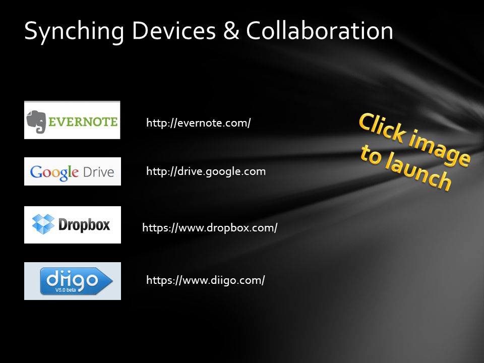 Synching Devices & Collaboration https://www.dropbox.com/ http://drive.google.com http://evernote.com/ https://www.diigo.com/