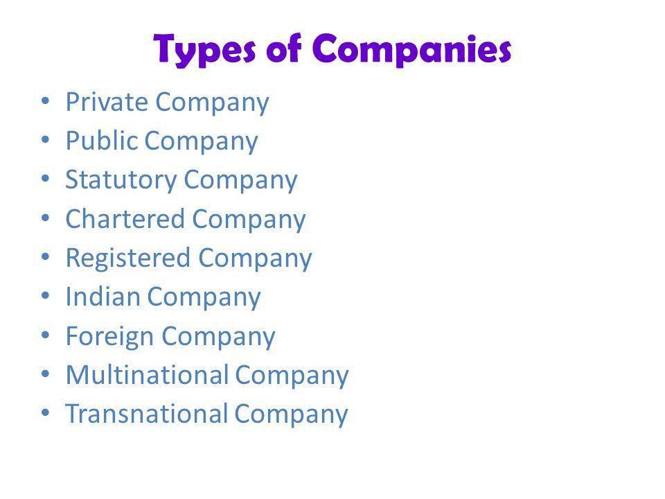 Types of Companies Private Company Public Company Statutory Company Chartered Company Registered Company Indian Company Foreign Company Multinational Company Transnational Company