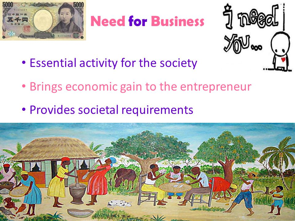 Need for Business Essential activity for the society Brings economic gain to the entrepreneur Provides societal requirements