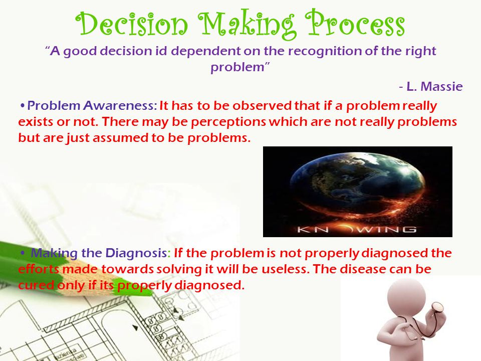Page 20 Decision Making Process A good decision id dependent on the recognition of the right problem - L.