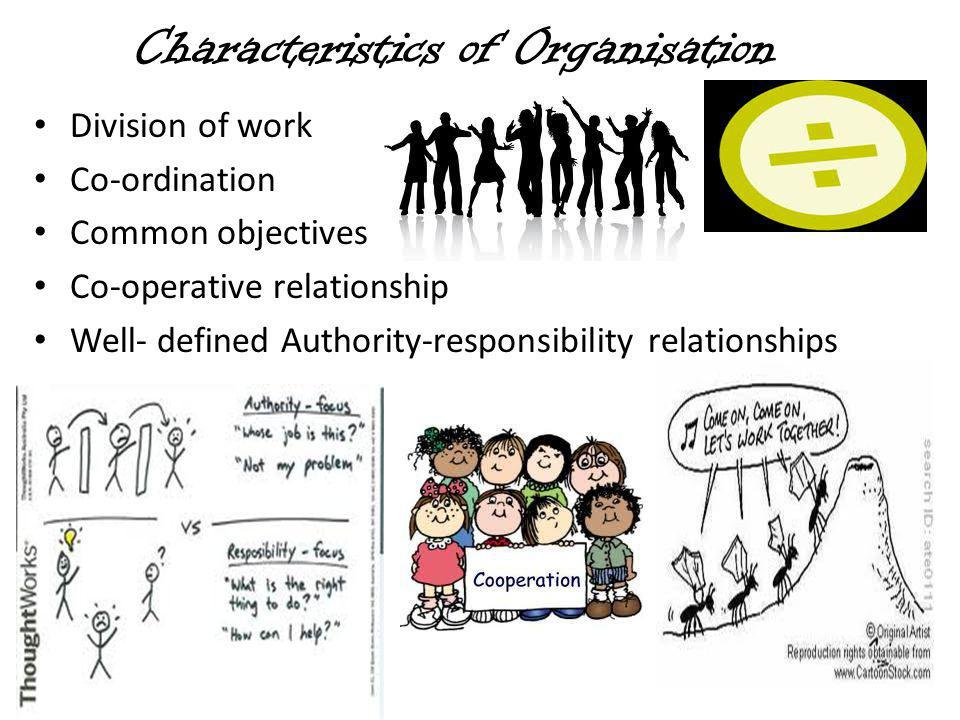 Characteristics of Organisation Division of work Co-ordination Common objectives Co-operative relationship Well- defined Authority-responsibility relationships