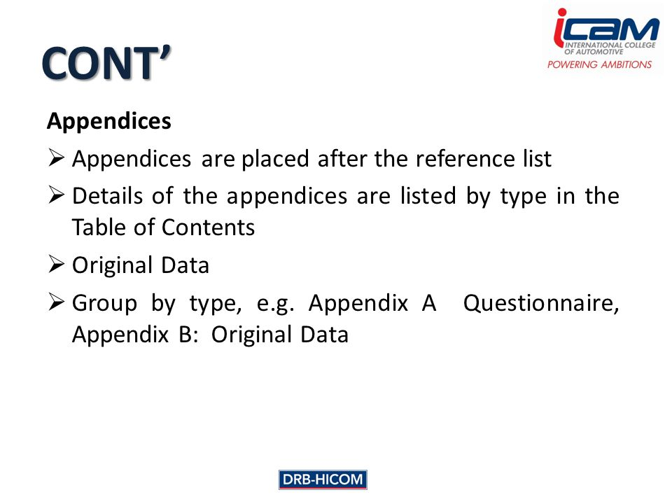 Appendices  Appendices are placed after the reference list  Details of the appendices are listed by type in the Table of Contents  Original Data  Group by type, e.g.