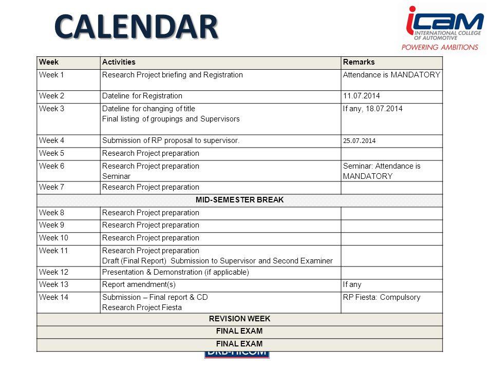 CALENDAR WeekActivitiesRemarks Week 1 Research Project briefing and Registration Attendance is MANDATORY Week 2Dateline for Registration11.07.2014 Wee