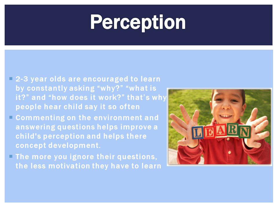""" 2-3 year olds are encouraged to learn by constantly asking """"why?"""" """"what is it?"""" and """"how does it work?"""" that's why people hear child say it so often"""