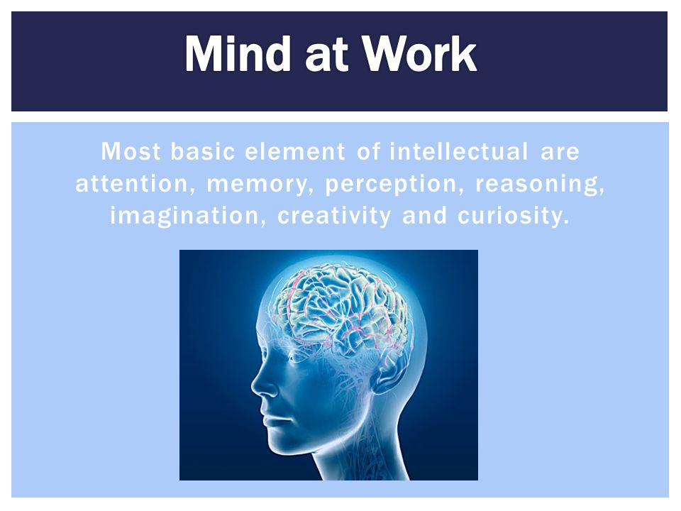 Most basic element of intellectual are attention, memory, perception, reasoning, imagination, creativity and curiosity.