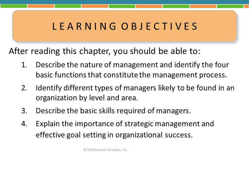 After reading this chapter, you should be able to: 1.Describe the nature of management and identify the four basic functions that constitute the manag