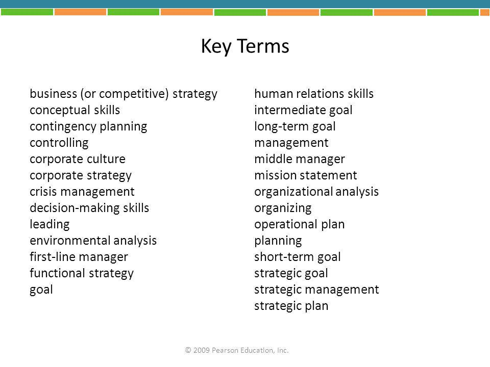 Key Terms business (or competitive) strategy conceptual skills contingency planning controlling corporate culture corporate strategy crisis management