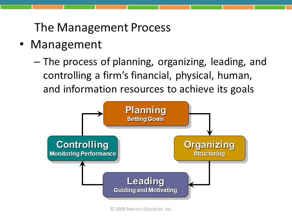 A Hierarchy of Plans Strategic Plans – Reflect decisions about resource allocations, company priorities, and the steps needed to meet strategic goals Tactical Plans – Shorter-term plans for implementing specific aspects of the company's strategic plans Operational Plans – Mid-level and lower-level managers set short- term targets for daily, weekly, or monthly performance © 2009 Pearson Education, Inc.