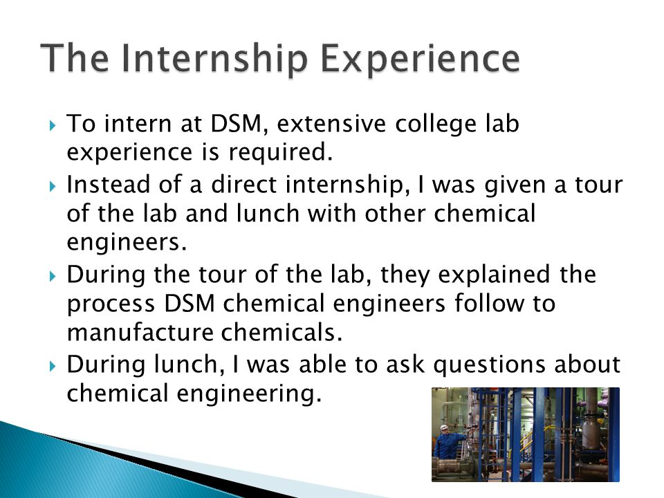  To intern at DSM, extensive college lab experience is required.  Instead of a direct internship, I was given a tour of the lab and lunch with other