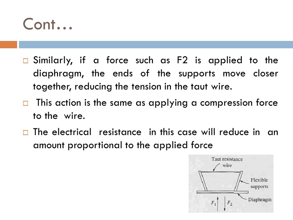 Cont…  Similarly, if a force such as F2 is applied to the diaphragm, the ends of the supports move closer together, reducing the tension in the taut