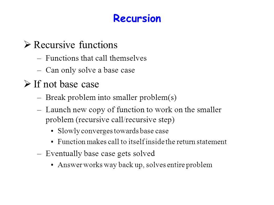 Recursion  Example: factorial n.= n * ( n – 1 ) * ( n – 2 ) * … * 1 –Recursive relationship ( n.