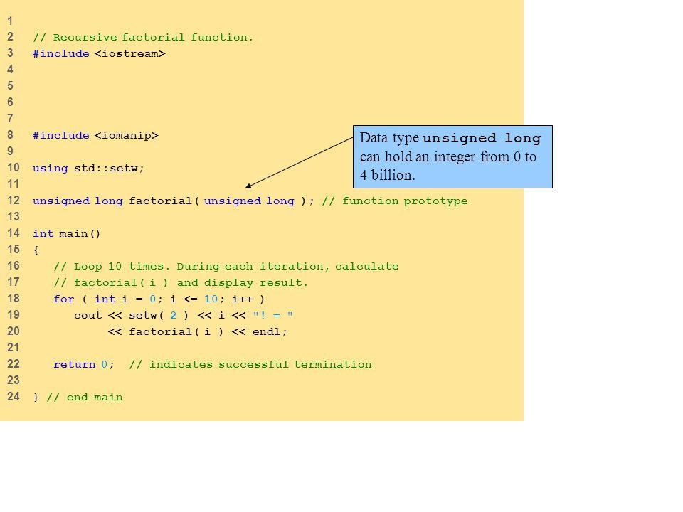 1 2 // Recursive factorial function.