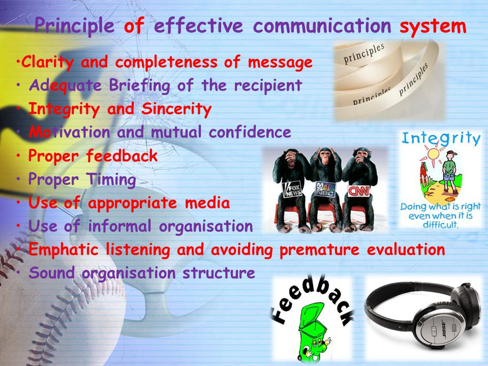 Principle of effective communication system Clarity and completeness of message Adequate Briefing of the recipient Integrity and Sincerity Motivation