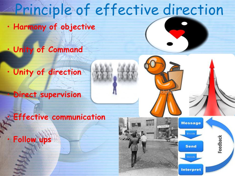 Principle of effective direction Harmony of objective Unity of Command Unity of direction Direct supervision Effective communication Follow ups