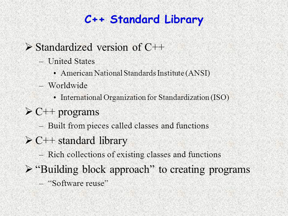 C++ Standard Library  Standardized version of C++ –United States American National Standards Institute (ANSI) –Worldwide International Organization for Standardization (ISO)  C++ programs –Built from pieces called classes and functions  C++ standard library –Rich collections of existing classes and functions  Building block approach to creating programs – Software reuse