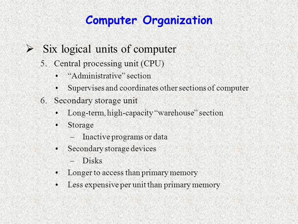 Computer Organization  Six logical units of computer 5.Central processing unit (CPU) Administrative section Supervises and coordinates other sections of computer 6.Secondary storage unit Long-term, high-capacity warehouse section Storage –Inactive programs or data Secondary storage devices –Disks Longer to access than primary memory Less expensive per unit than primary memory