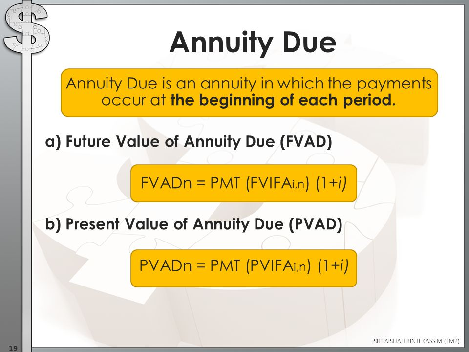Annuity Due is an annuity in which the payments occur at the beginning of each period.