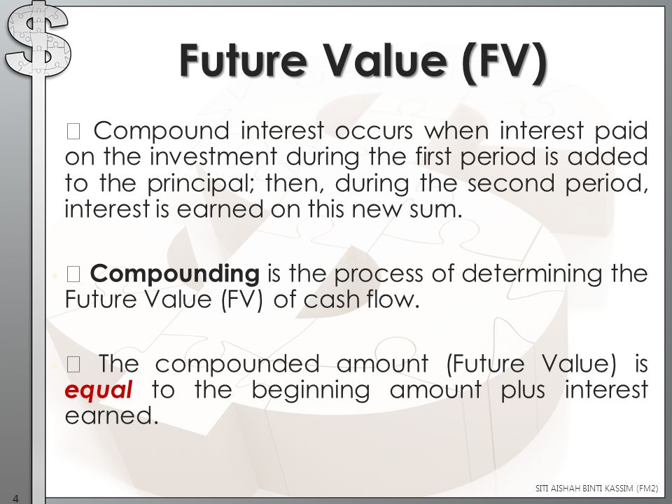  Compound interest occurs when interest paid on the investment during the first period is added to the principal; then, during the second period, interest is earned on this new sum.