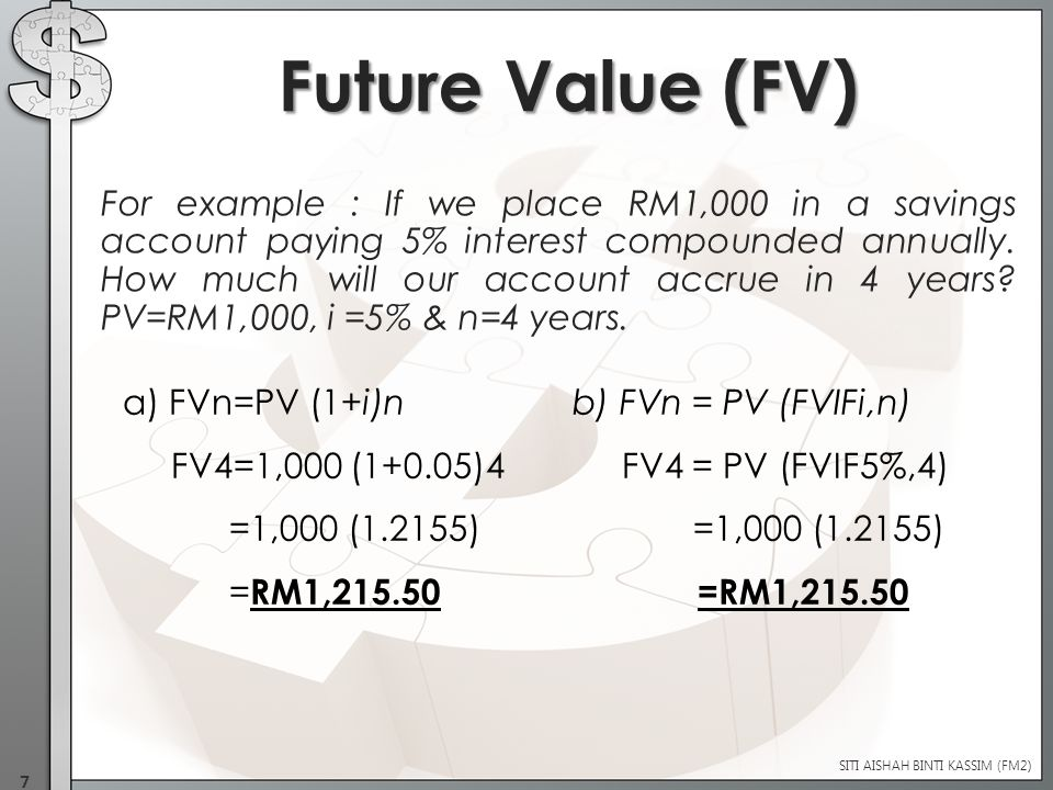 For example : If we place RM1,000 in a savings account paying 5% interest compounded annually.