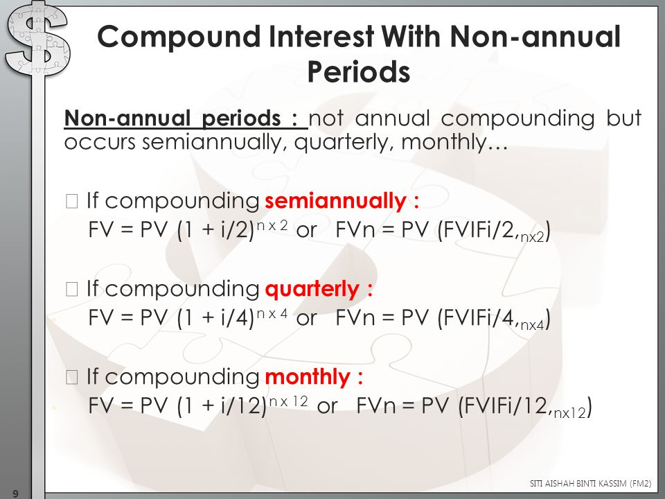  Present value is the current value of futures sum  Finding Present Values (PVs) is called discounting  We can calculate PV by using this equation : PV = FVn or PV = FVn (PVIF i,n ) (1+i ) n **[ 1/(1+ i)n ] is also known as discounting factor.
