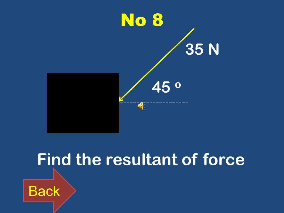 No 8 Find the resultant of force 45 o Back 35 N