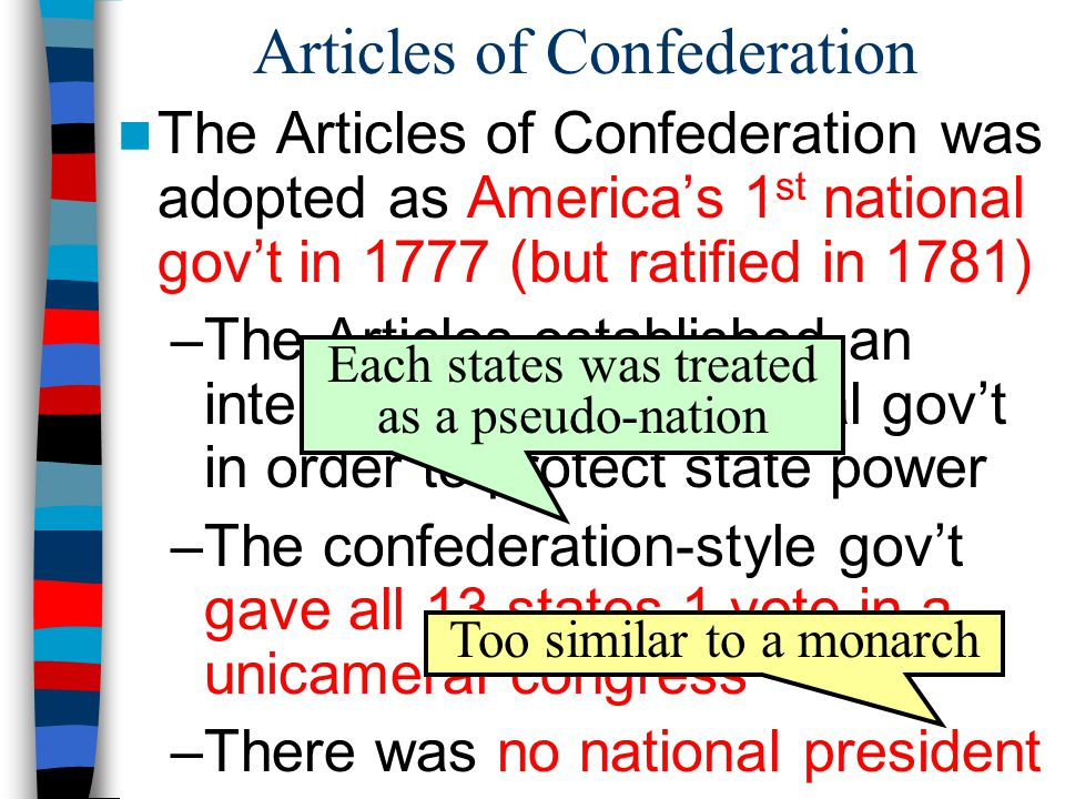 Articles of Confederation The Articles of Confederation was adopted as America's 1 st national gov't in 1777 (but ratified in 1781) –The Articles established an intentionally weak central gov't in order to protect state power –The confederation-style gov't gave all 13 states 1 vote in a unicameral congress –There was no national president Each states was treated as a pseudo-nation Too similar to a monarch