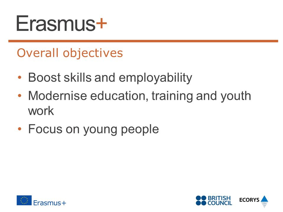 Overall objectives Boost skills and employability Modernise education, training and youth work Focus on young people