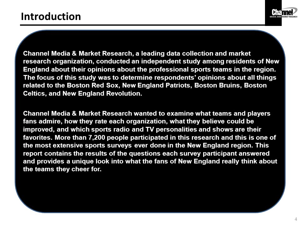 Introduction Channel Media & Market Research, a leading data collection and market research organization, conducted an independent study among residents of New England about their opinions about the professional sports teams in the region.