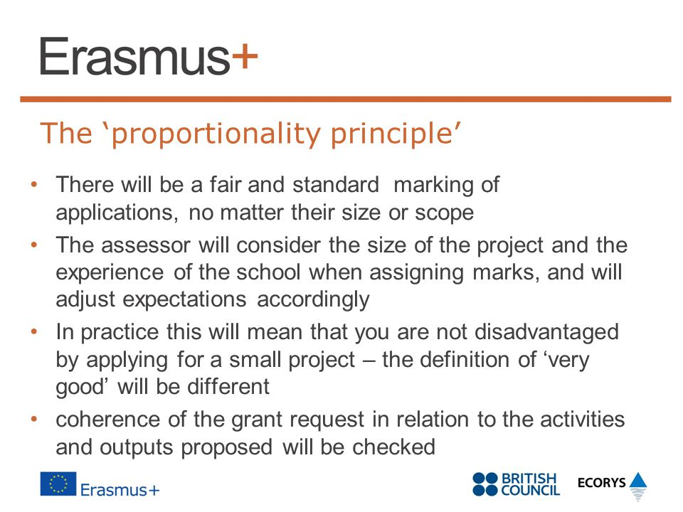 The 'proportionality principle' There will be a fair and standard marking of applications, no matter their size or scope The assessor will consider the size of the project and the experience of the school when assigning marks, and will adjust expectations accordingly In practice this will mean that you are not disadvantaged by applying for a small project – the definition of 'very good' will be different coherence of the grant request in relation to the activities and outputs proposed will be checked