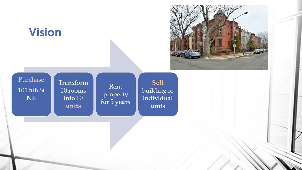 Vision Purchase 101 5th St NE Transform 10 rooms into 10 units Rent property for 5 years Sell building or individual units