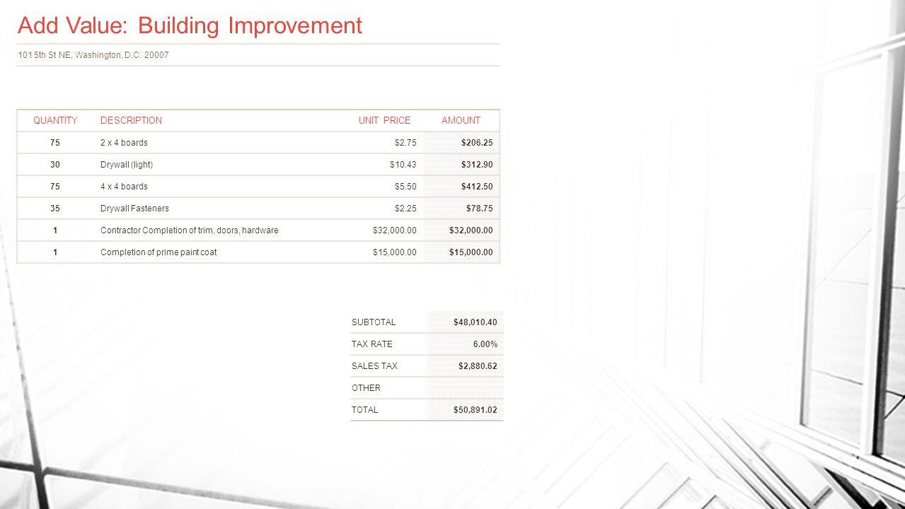 Add Value: Building Improvement 101 5th St NE, Washington, D.C.