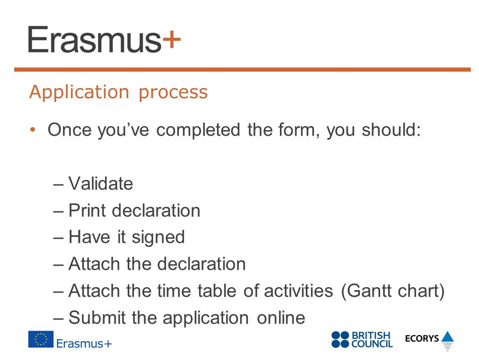 Application process Once you've completed the form, you should: –Validate –Print declaration –Have it signed –Attach the declaration –Attach the time