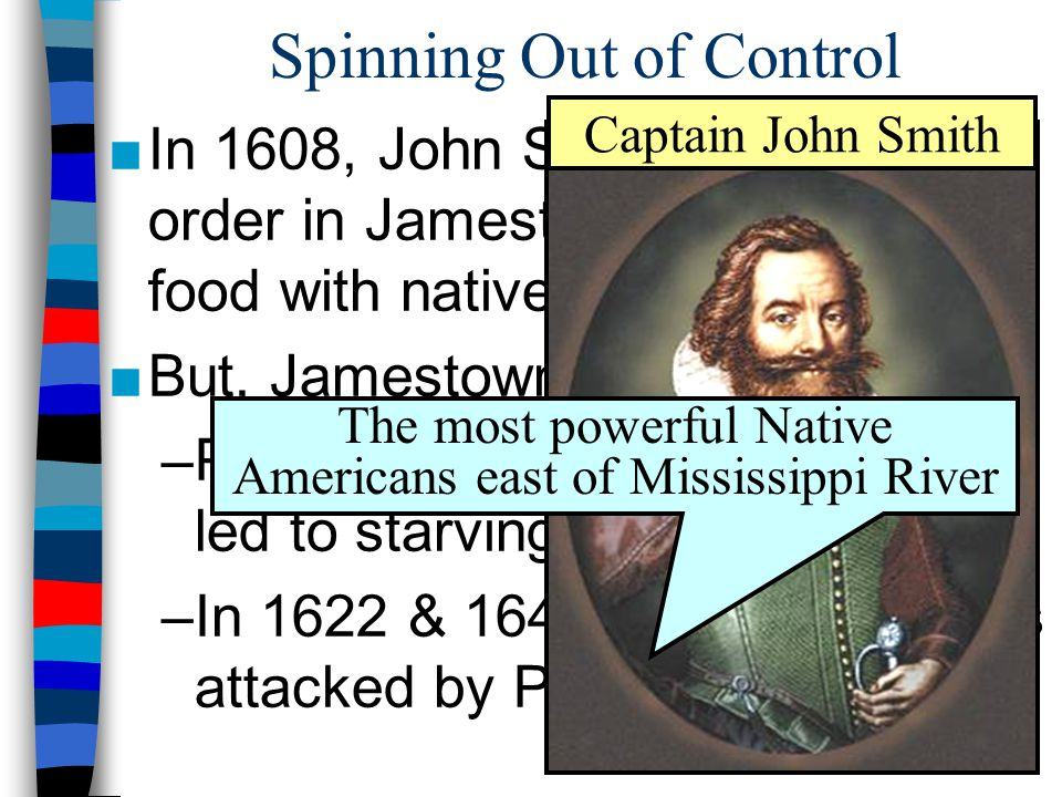 Spinning Out of Control ■In 1608, John Smith imposed order in Jamestown & traded for food with natives ■But, Jamestown faced difficulties: –Poor leade
