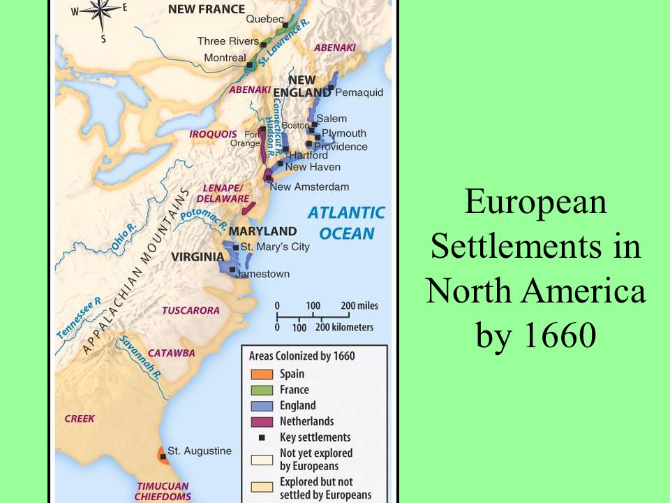 European Settlements in North America by 1660