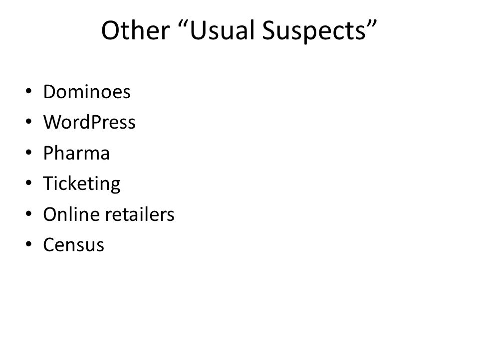 Other Usual Suspects Dominoes WordPress Pharma Ticketing Online retailers Census