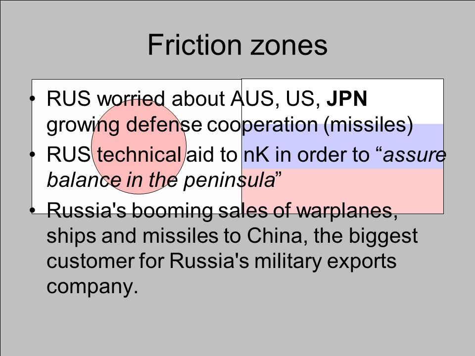 Friction zones RUS worried about AUS, US, JPN growing defense cooperation (missiles) RUS technical aid to nK in order to assure balance in the peninsula Russia s booming sales of warplanes, ships and missiles to China, the biggest customer for Russia s military exports company.
